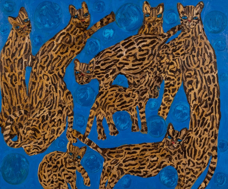 "Hunt Slonem ""Cat Haller Waller Blues 5"" Ocelot Cats - Painting by Hunt Slonem"