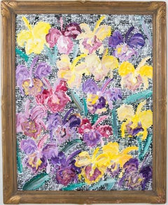 """Hunt Slonem """"Catalayas"""" Multicolored Flowers with Guardians"""