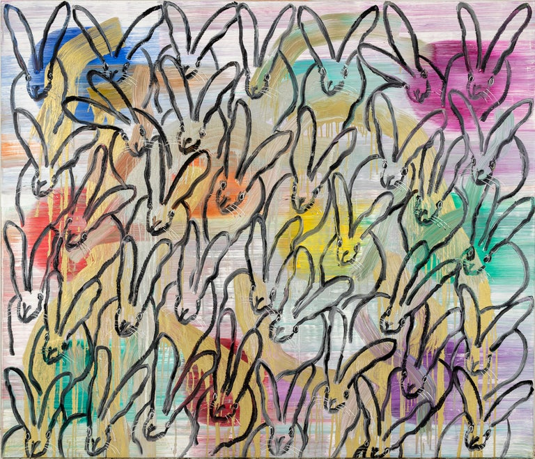 """Hunt Slonem """"Chinensis August Moon"""" Multicolored Bunnies - Painting by Hunt Slonem"""