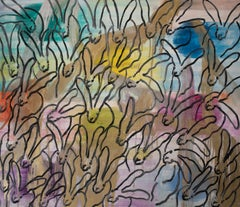"Hunt Slonem ""Chinensis Madewood"" Multicolored Bunnies"
