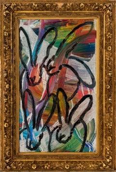 "Hunt Slonem ""Chinensis Today"" Multicolored Metallic Rainbow Bunnies"
