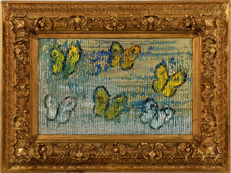 "Hunt Slonem ""Clamoring"" Blue, Silver, & Yellow Metallic Butterflies - Painting by Hunt Slonem"