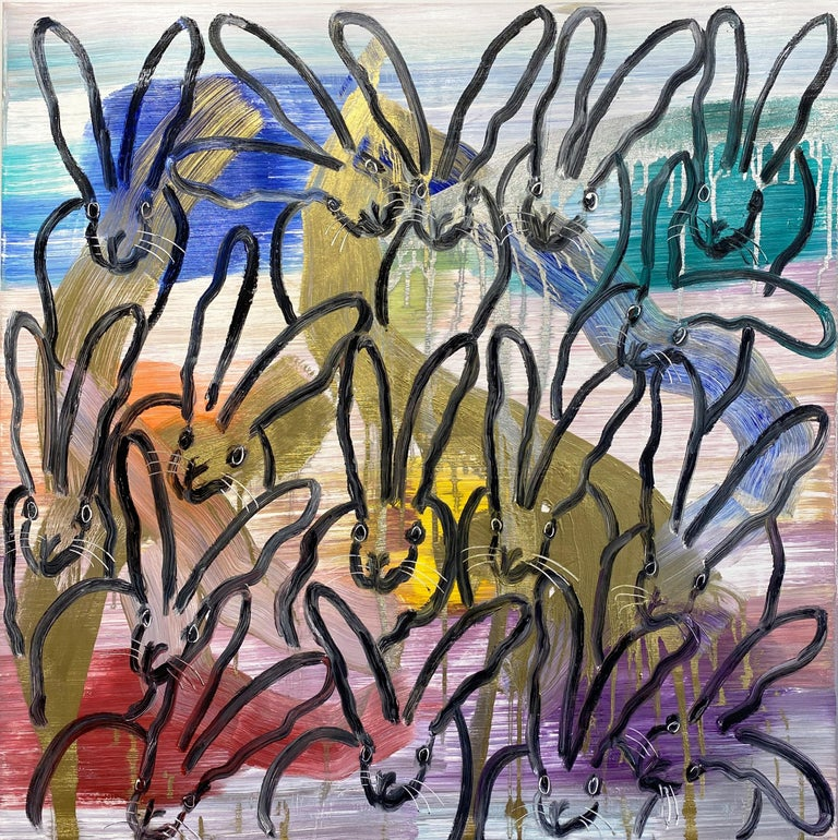 Hunt Slonem colorful bunny painting 'Chinensis Vision' - Painting by Hunt Slonem