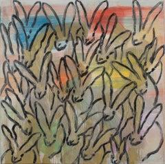 "Hunt Slonem ""Curious"" Multicolor Metallic Bunnies"