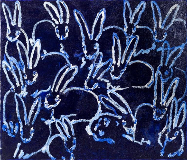 """Hunt Slonem """"Diamonds"""" Blue Diamond Dust Bunnies - Painting by Hunt Slonem"""