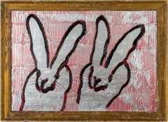 """Hunt Slonem """"Double Heart"""" Double Bunny Silver and Red"""