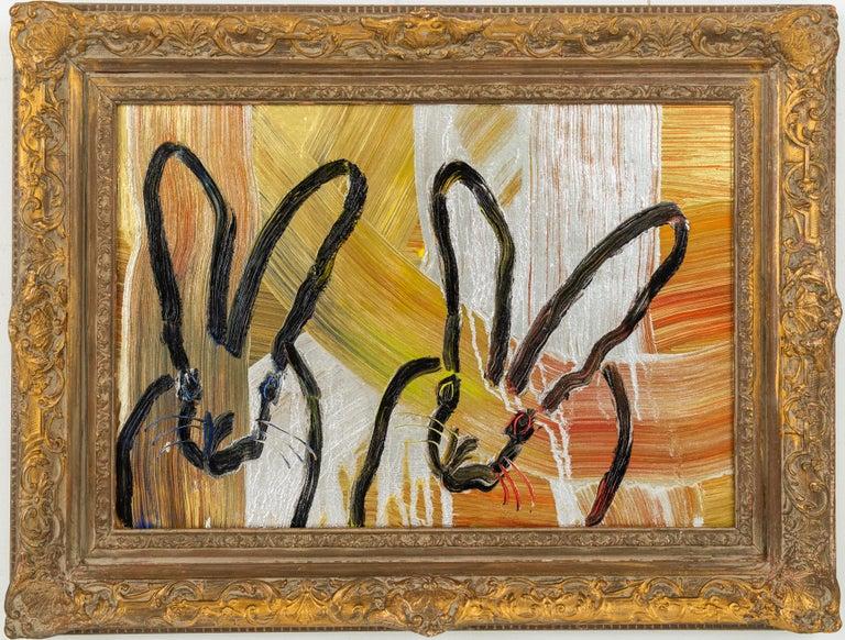 "Hunt Slonem ""Duo I"" Metallic Multicolored Bunnies  - Painting by Hunt Slonem"
