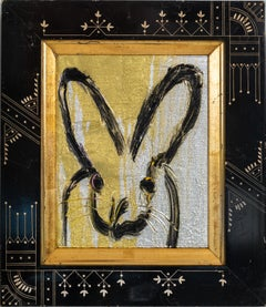 "Hunt Slonem ""East Lake"" Silver & Gold Metallic Bunny"