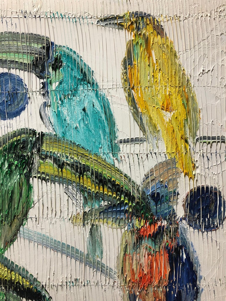 Emerald Toucanettes Multicolored Tropical Birds on White - Painting by Hunt Slonem