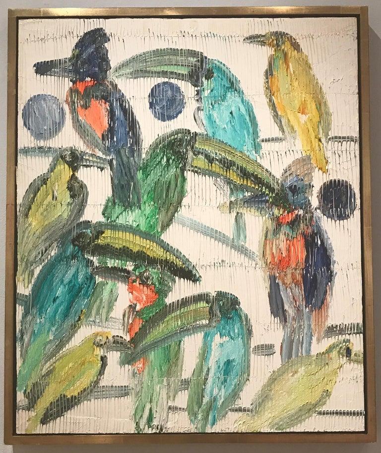 Hunt Slonem Animal Painting - Emerald Toucanettes Multicolored Tropical Birds on White