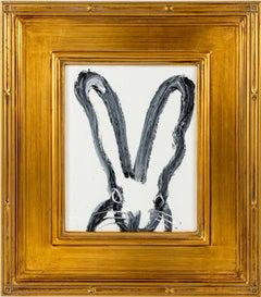 """Hunt Slonem """"Emily"""" Black Outline Bunny On White"""