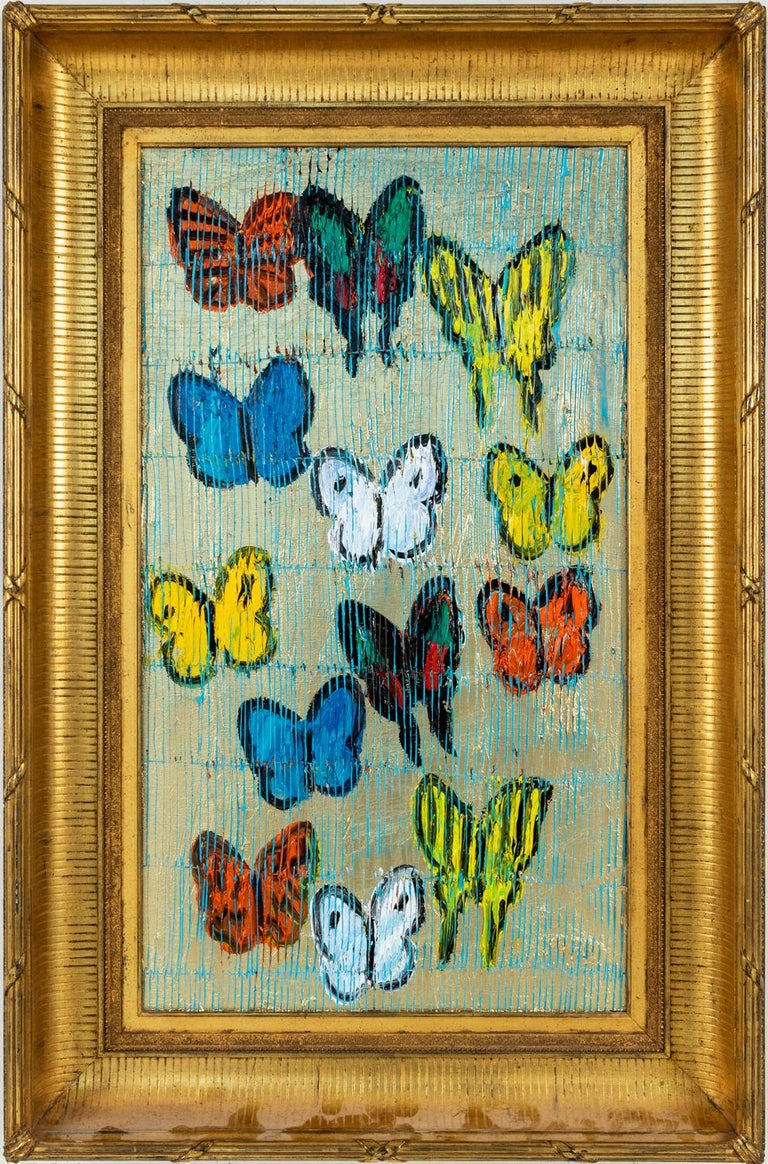 """Hunt Slonem """"Felina Swallowtail"""" Multicolored Butterflies On Silver With Scoring - Painting by Hunt Slonem"""