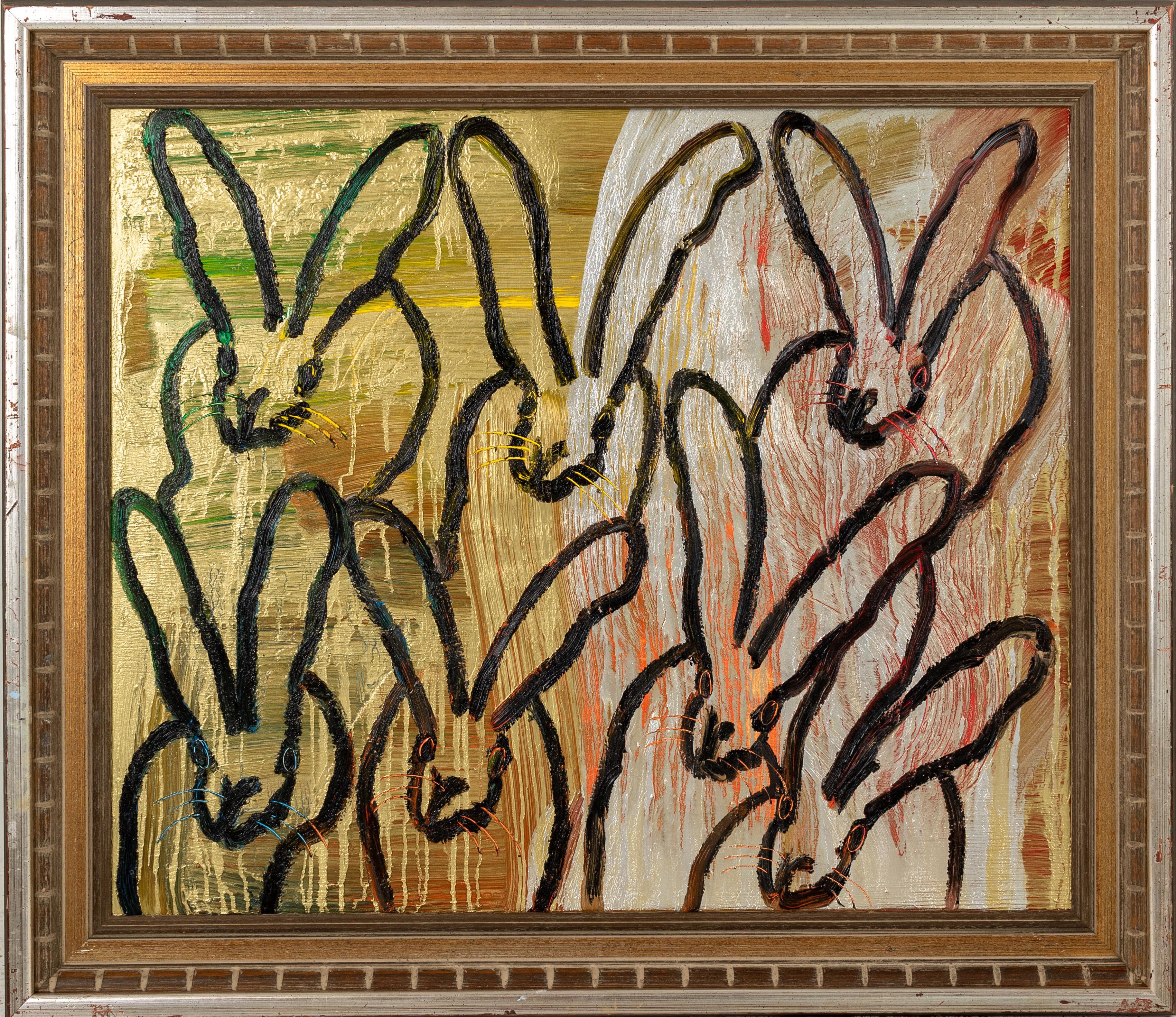 "Hunt Slonem ""Golden Pond"" Multicolored Metallic Bunnies"