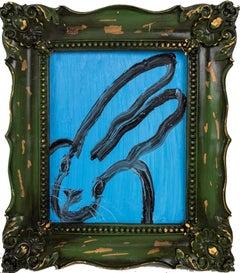 """Hunt Slonem """"Green Pea"""" Blue Bunny"""