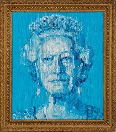 """Hunt Slonem """"Her Majesty"""" Blue Queen Elizabeth"""