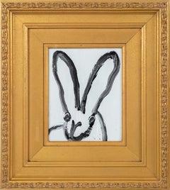 """Hunt Slonem """"House"""" Black Outline Bunny On Light Gray White"""