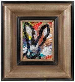 """Hunt Slonem, """"Joy"""" Multicolor Bunny Oil Painting on Board in Antique Frame, 2021"""