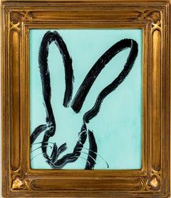 """Hunt Slonem """"Lake Cuomo"""" Black Outline Bunny Blue"""