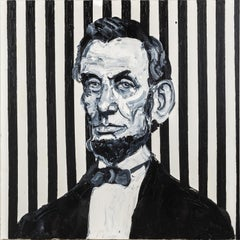"Hunt Slonem ""Lincoln"" Black & White Abraham Lincoln"