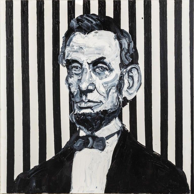"Hunt Slonem ""Lincoln"" Black & White Abraham Lincoln - Painting by Hunt Slonem"