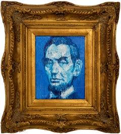 "Hunt Slonem ""Lincoln"" Blue Abraham Lincoln Portrait"