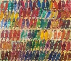 "Hunt Slonem ""Lories"" Multicolored Birds"
