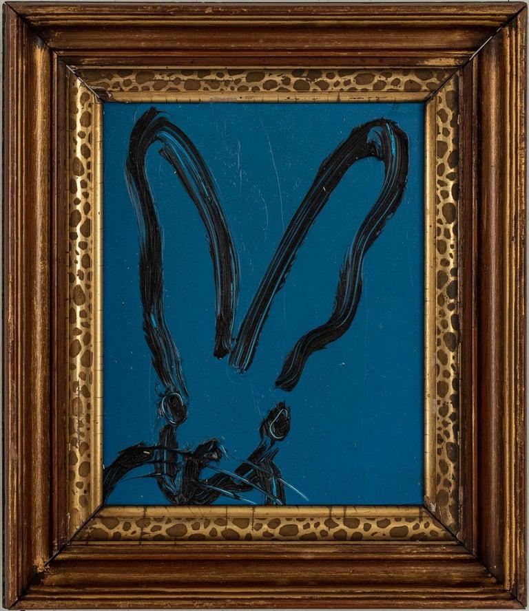 """Hunt Slonem """"Mabel Mercer"""" Navy Blue Bunny - Painting by Hunt Slonem"""