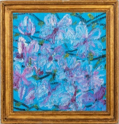 "Hunt Slonem ""Magnolia"" Blue & Purple Flowers"