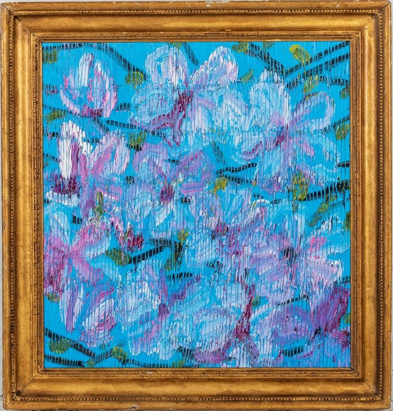 """Hunt Slonem """"Magnolia"""" Blue & Purple Flowers - Painting by Hunt Slonem"""