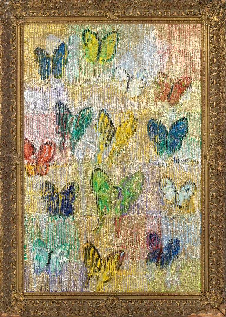 "Hunt Slonem ""Malechite"" Multicolored Metallic Butterflies - Painting by Hunt Slonem"
