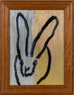 """Hunt Slonem """"May"""" Gold and Silver Metallic Bunny"""