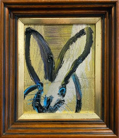 Hunt Slonem metallic bunny oil painting 'Blue Eyes'
