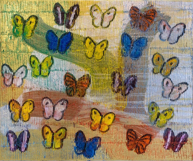 "Hunt Slonem ""Morning Cloak"" Rainbow Butterflies - Painting by Hunt Slonem"