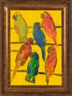 "Hunt Slonem ""New Species Against August Moon"" Parrot Birds"