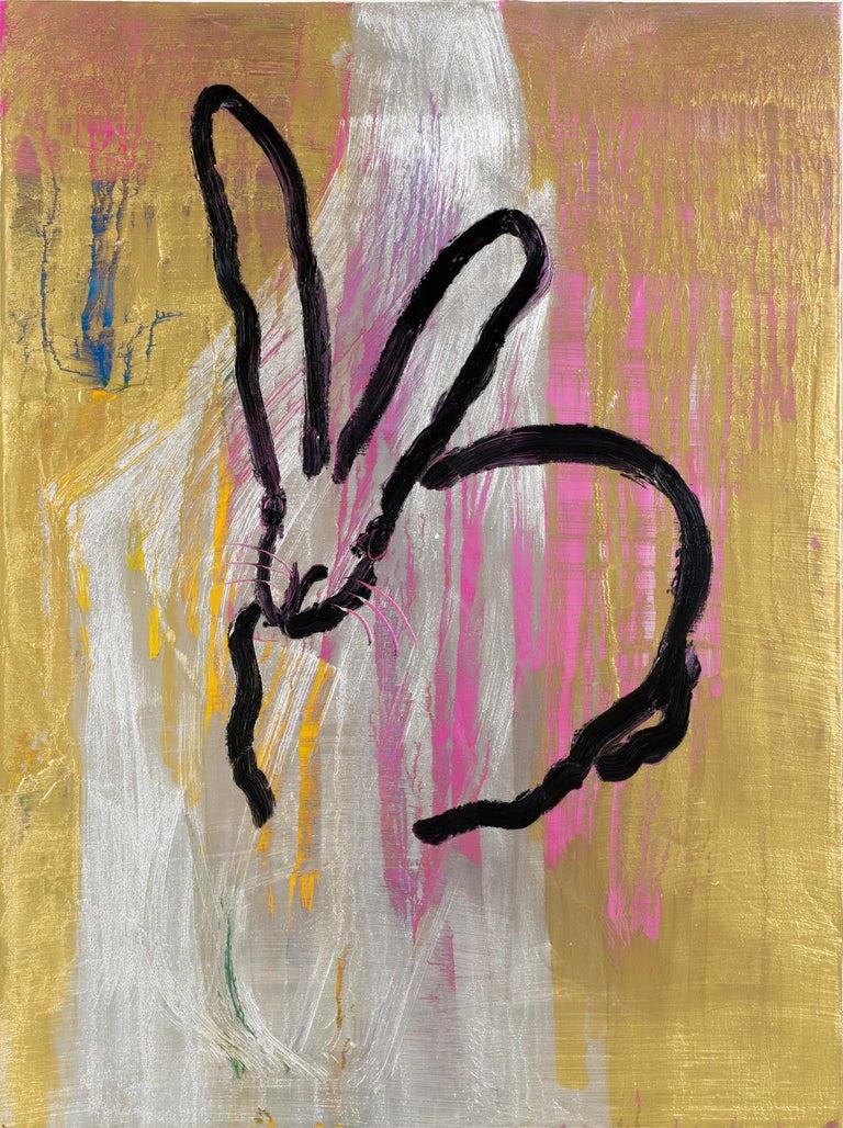 "Hunt Slonem ""Newton"" Metallic Multicolored Bunny - Painting by Hunt Slonem"