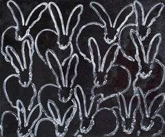 "Hunt Slonem ""Night Painting"" White-Outlined Bunnies On Black Diamond Dust"