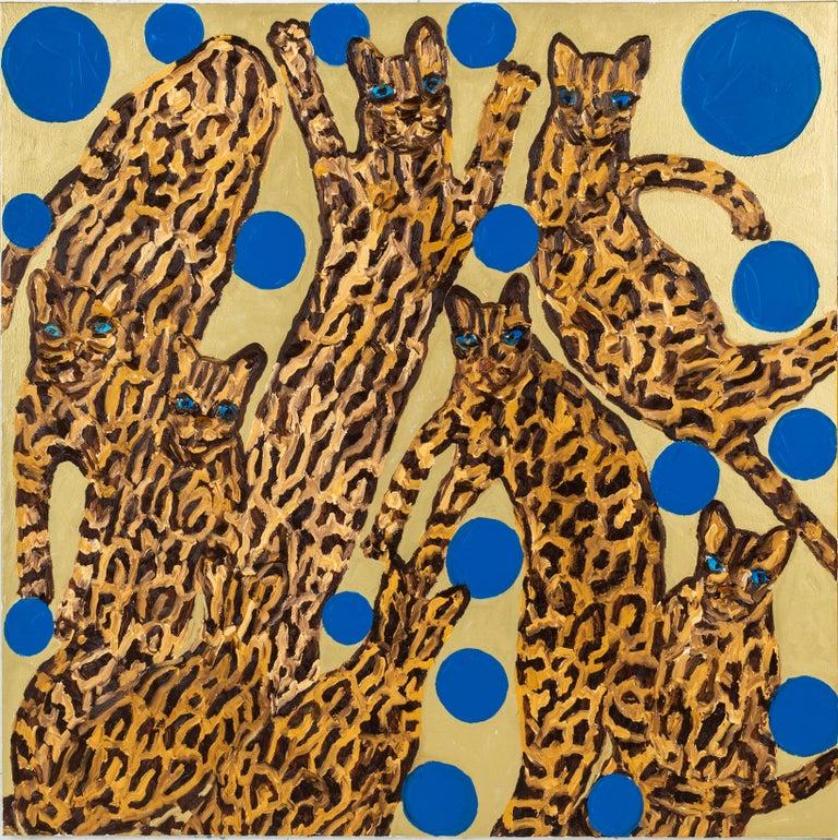 "Hunt Slonem ""Ocelots Blue Pearls"" Ocelot Cats - Painting by Hunt Slonem"