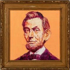 "Hunt Slonem ""Orange Lincoln"" Peach Orange Abraham Lincoln"