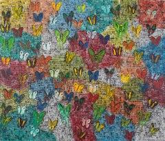"""Hunt Slonem """"Orient Express"""" Multicolor Butterflies"""