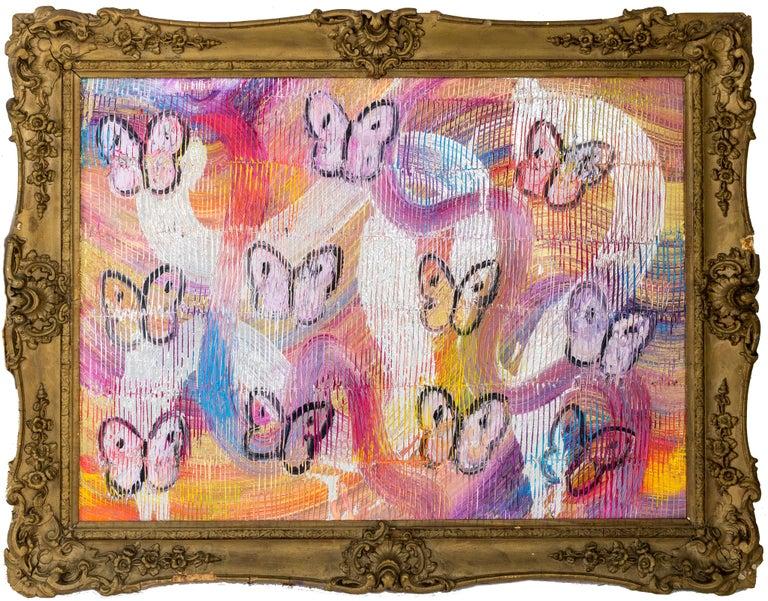"Hunt Slonem ""Pallet"" Multicolored Metallic Butterflies - Painting by Hunt Slonem"