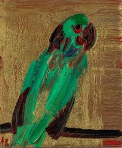 "Hunt Slonem ""Parrot 2"" Bird Gold"