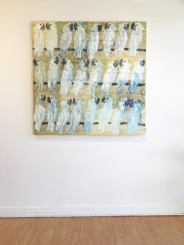 Hunt Slonem parrots painting 'Whispers' For Sale 3