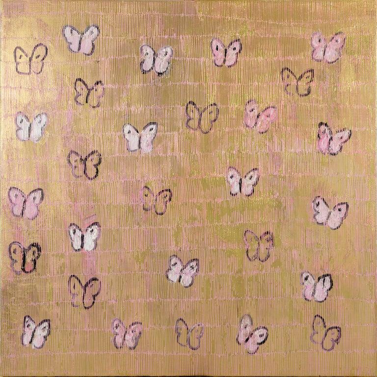 "Hunt Slonem ""Pink Ascension Weekend"" Pink & Gold Butterflies - Painting by Hunt Slonem"