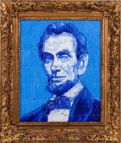 "Hunt Slonem ""President Lincoln"" Blue Lincoln Portrait"