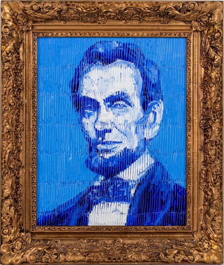 "Hunt Slonem ""President Lincoln"" Blue Lincoln Portrait - Painting by Hunt Slonem"