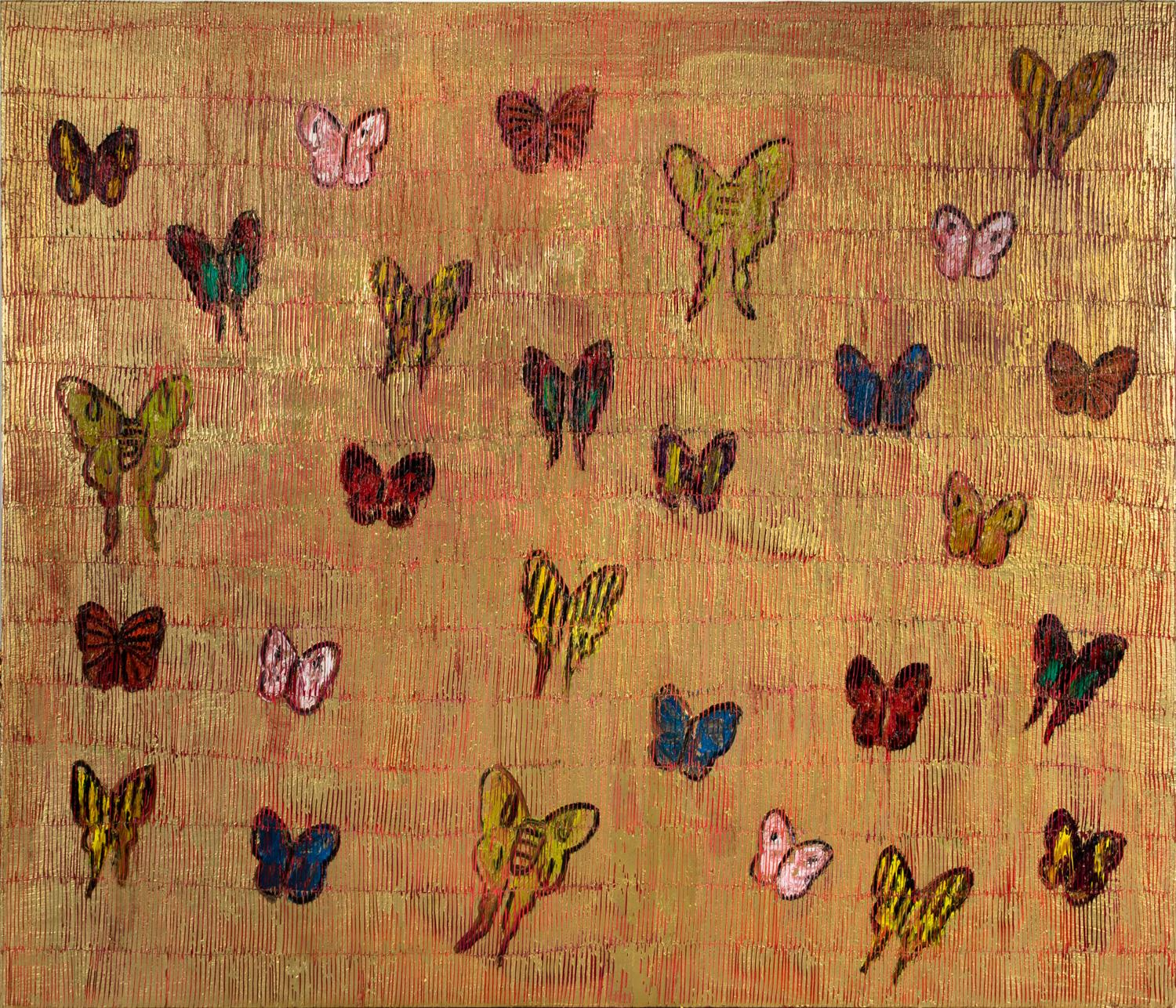 """Hunt Slonem """"Red Sea Migration"""" Multiple Colored Butterflies On Red and Gold"""