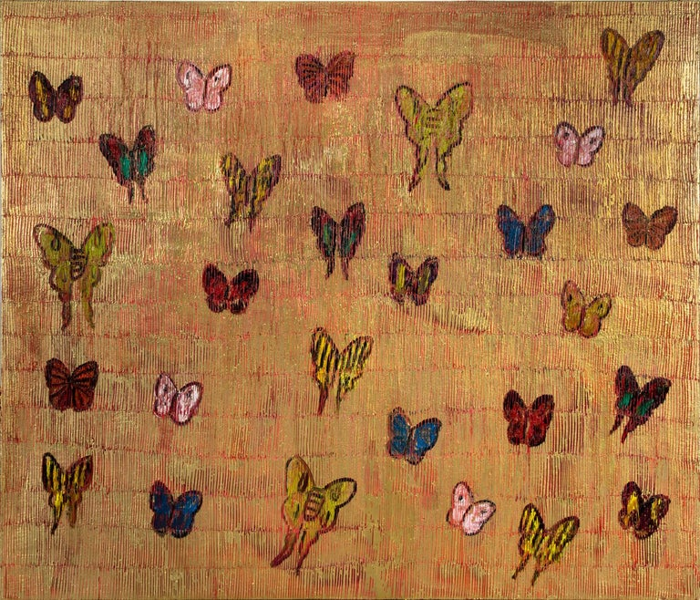 """Hunt Slonem """"Red Sea Migration"""" Multiple Colored Butterflies On Red and Gold - Painting by Hunt Slonem"""