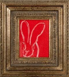 """Hunt Slonem """"Sam"""" Red Resin Bunny"""