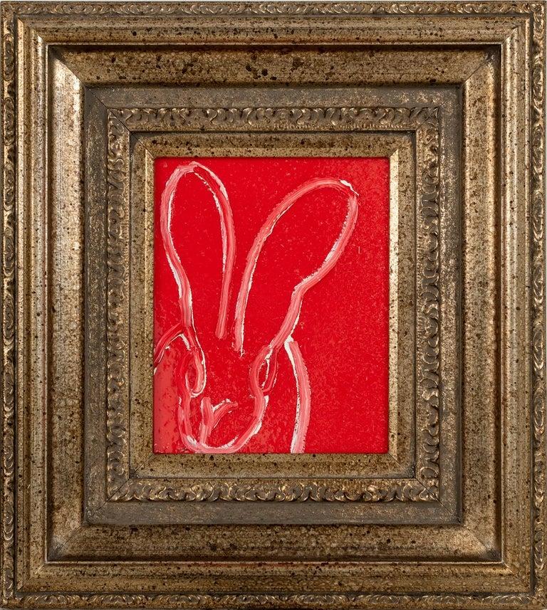 """Hunt Slonem """"Sam"""" Red Resin Bunny - Painting by Hunt Slonem"""