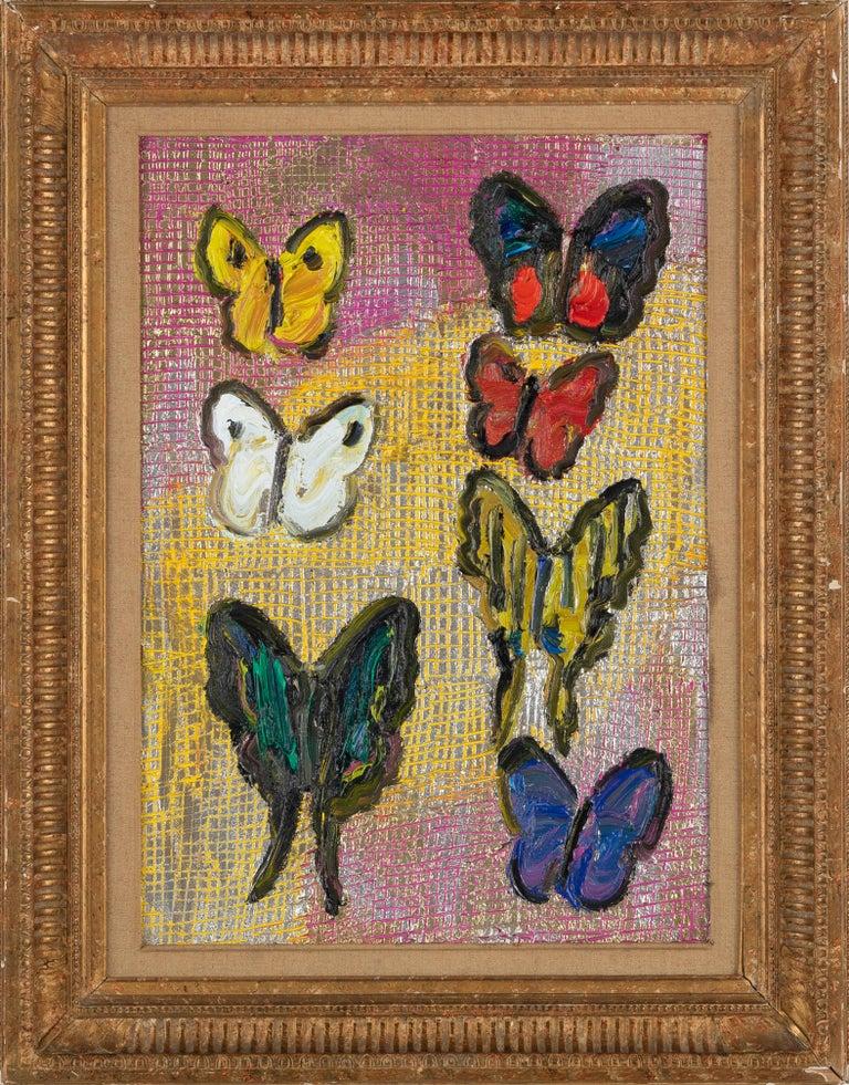 "Hunt Slonem ""Score"" Multicolored Metallic Butterflies - Painting by Hunt Slonem"